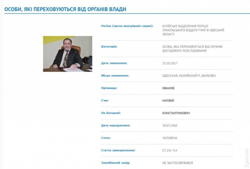 Полиция объявила в розыск мэра города Вилково