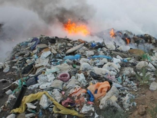 В Болграде горит городская свалка