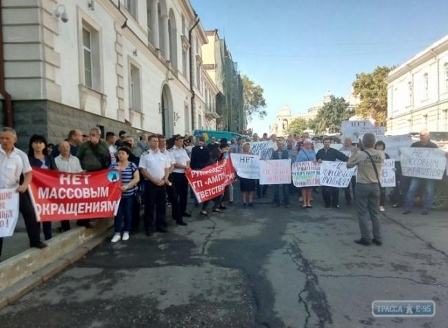 Портовики снова протестовали против замены госохраны на частников