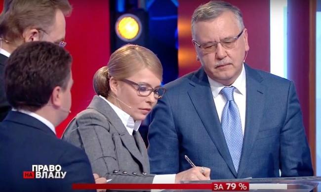 Тимошенко, Гриценко, Садовый, Бондарь и Шевченко в прямом эфире подписали меморандум о честных выборах