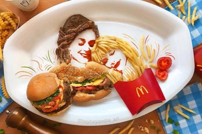 Художник рисует едой на тарелках: необычные картины