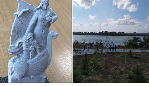 Памятник княгине Ольге будет возвышаться над Дунаем: журналистам показали макет скульптуры и место, где её установят