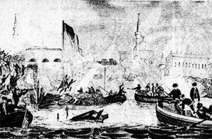 Минарет  был изображен  на зарисовках современника штурма крепости